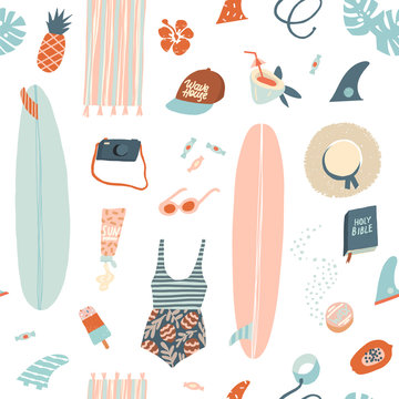 Surfer summer beach objects seamless pattern in vector.