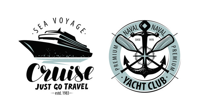 Cruise, yacht club logo or label. Nautical concept. Lettering vector