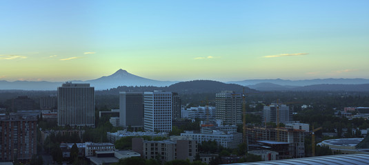 Sunrise drone aerial panorama of Mt Hood overlooking downtown Portland