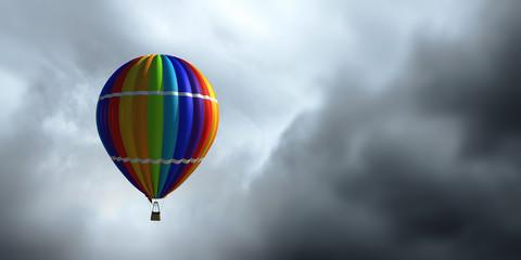 Air balloon in blue sky. Mixed media