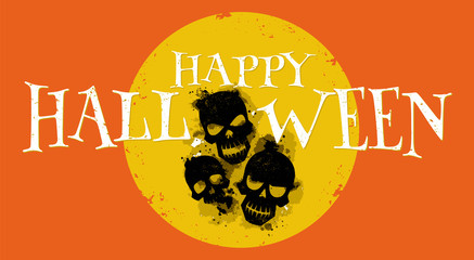 Skulls with ink effect. Happy halloween. Vector illustration. Used for poster, banner, print, web banner, greeting card, logo design and graphic usage