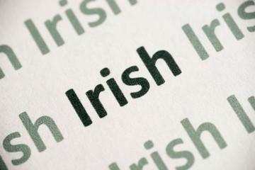 word Irish language printed on paper macro