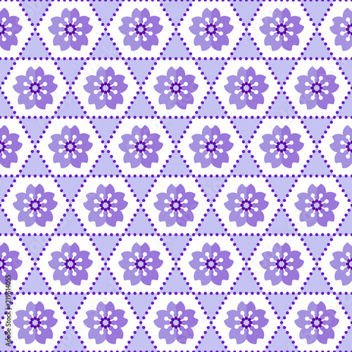 Cute Seamless Geometric Japanese Style Floral Background Pattern In Purple And White For Greeting Cards