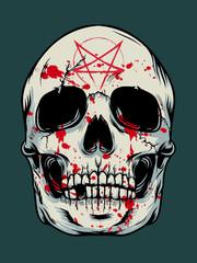 Poster Aquarel Schedel Halloween skull background
