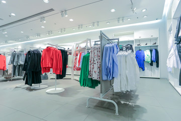 Various retail winter clothing in the mall