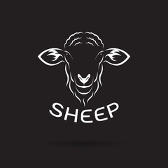 Vector of sheep head design on black background. Wild Animals. Easy editable layered vector illustration.