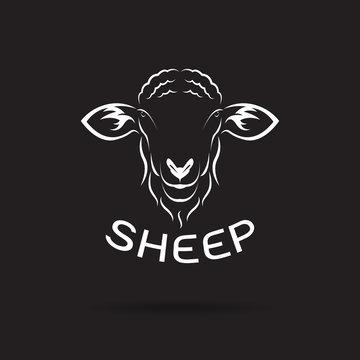 Vector of sheep head design on black background. Wild Animals. Easy editable layered vector illustration.