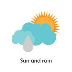 Sun and rain in cartoon style, card with weather for kid, preschool activity for children, vector illustration