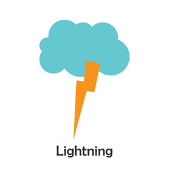 Lightning in cartoon style, card with weather for kid, preschool activity for children, vector illustration
