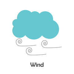 Wind in cartoon style, card with weather for kid, preschool activity for children, vector illustration