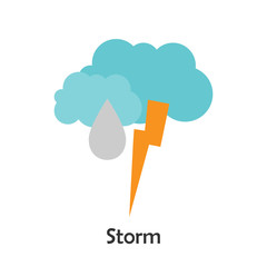 Storm in cartoon style, card with weather for kid, preschool activity for children, vector illustration