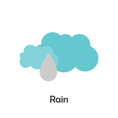 Rain in cartoon style, card with weather for kid, preschool activity for children, vector illustration
