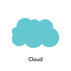 Cloud in cartoon style, card with weather for kid, preschool activity for children, vector illustration