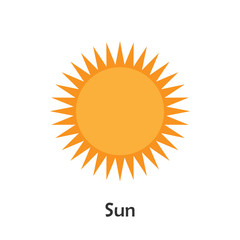 Sun in cartoon style, card with weather for kid, preschool activity for children, vector illustration