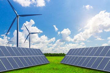 Fototapeta Solar and wind power equipment on vast grasslands