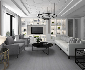 3d rendering white modern classic living room with marble tile and bookshelf