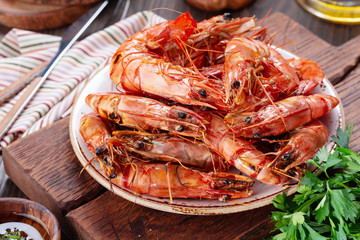 Tasty grilled shrimps or prawns on a plate