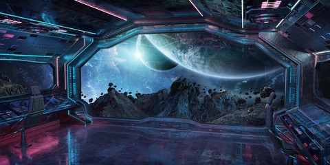 Grunge Spaceship interior with view on planet Earth 3D rendering