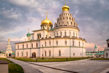 Istra, Russia. Famous New Jerusalem monastery at sunset.