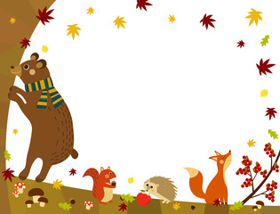 Autumn Background with Woodland Animals