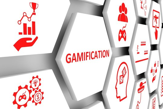GAMIFICATION concept cell background 3d illustration