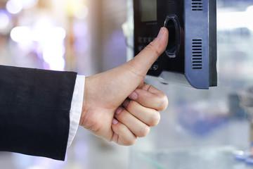 Businessman hand scanning scanningon machine, Business concept.