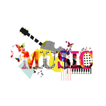 Music typographic colorful background with guitar and piano vector illustration. Artistic music festival poster, live concert, creative banner design. Word music with music instruments