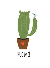 cactus like a cat with little bird,vector illustration
