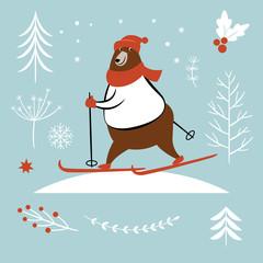 Bear ski in winter, vector illustration, idea for season greeting card design