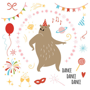 party illustration vector, funny dancer bear and set of design elements,