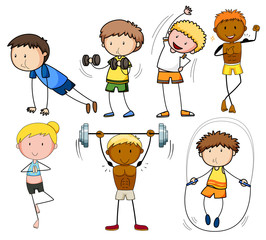 A set of doodle kids exercise