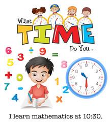 A boy learn mathematics at 10:30