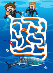 Scuba diving find whale shark maze game