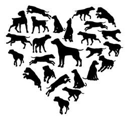 Labrador Retriever Dog Heart Silhouette Concept