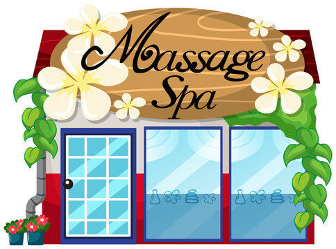 A massage spa shop on white background