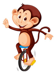 A monkey riding unicycle