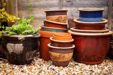 Empty garden pots ready for summer planting.