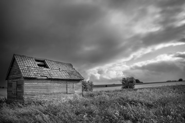 Derelict building on Salisbury plain on a stormy day, Wiltshire