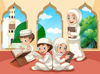 Group of muslim children at mosque