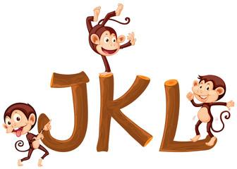 Monkey and wooden alphabet