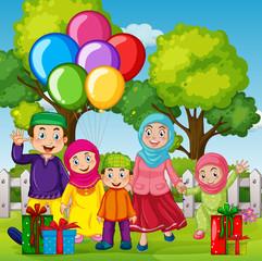 A muslim family celebration birthday