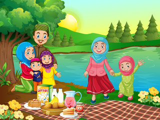 A muslim family picnic in nature