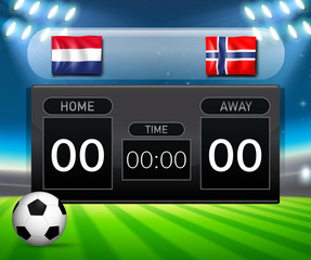 Netherlands vs Norway soccer scoreboard