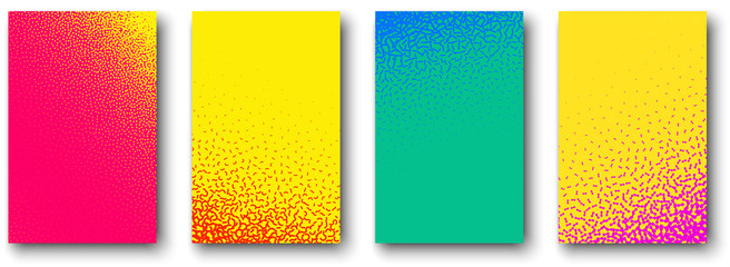 Fotobehang Pop Art Set of backgrounds with abstract stipplism effect pattern.