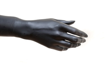 tight hand of black show room dummy (puppet) on white background