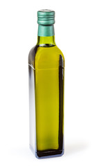 Olive oil in glass bottle isolated on white background with clipping path