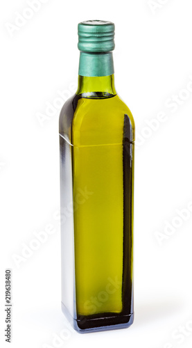 Olive Oil In Glass Bottle Isolated On White Background With