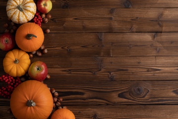 Autumn harvest on wooden table Wall mural