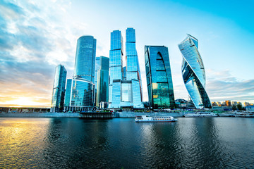 Moscow international Business Center, view of skyscrapers at sunset