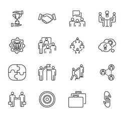 Team collaboration vector illustration collection set. Outlined icons with people cooperation, working together, meeting about strategy to success goal for business.